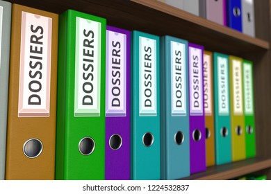 Office binders with DOSSIERS inscription. 3D rendering