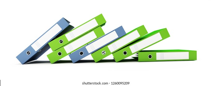 office binders  on a white background 3D illustration, 3D rendering