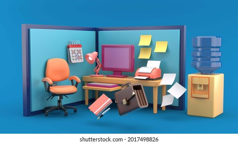 Office booth there is a computer desk and office chair surrounded by business men's bags, notebooks, printers, lamps, calendars and water dispenser on a blue background.Working lifestyle -3d rendering