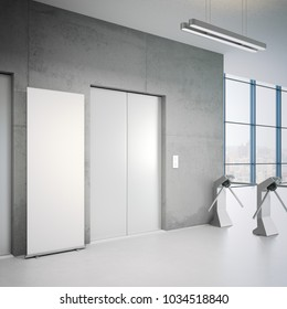 Office building entrance to elevators and white rollup banner. 3d rendering