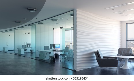 Office business center. Office workplace. Office cabins. Offices. 3d illustration