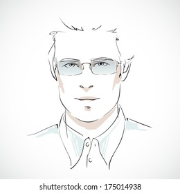 Office business style. Young businessman portrait with elegant glasses and shirt isolated  illustration