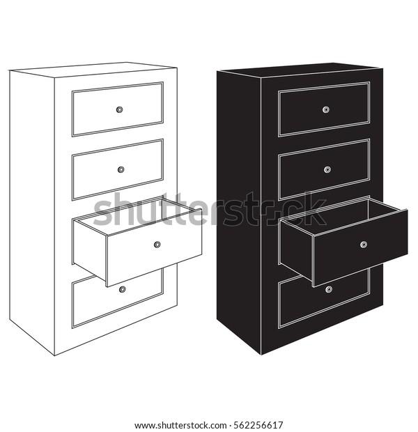 Cabinet Maker Clip Art: Office Cabinet Open Drawer Black White Stock Illustration