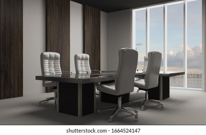 office cabinet with wood paneling on the walls. meeting with company leaders.. 3D rendering.