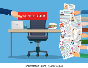 Office chair and cardboard paper with we need you message in hand of boss. Human resources management concept, searching professional staff, work. illustration in flat style Raster version