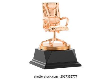 Office chair golden award concept. 3D rendering isolated on white background