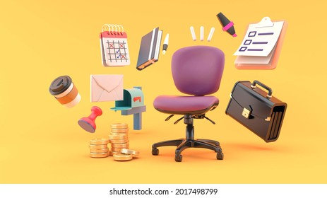 Office chair surrounded by Businessman bag, checklist, notebook, email box, money, calendar, stamp and coffee on orange background. lifestyle business ideas for illustrators.-3d rendering.