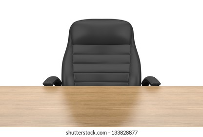 office chair at table isolated with clipping path