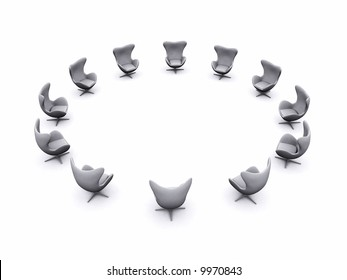 office chairs arranged in a circular formation