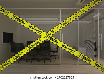 Office closed for quarantine. Modern office interior. Meeting room. 3D rendering.
