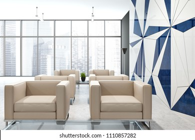 Office company clinic bank interior with a geometric wall pattern, and rows of comfortable beige armchairs standing near a beautiful cityscape window. A waiting area concept. 3d rendering