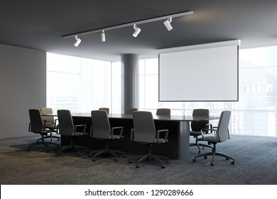Office conference room interior with gray walls, panoramic windows, long table with beige chairs standing around it and big projector screen. 3d rendering mock up
