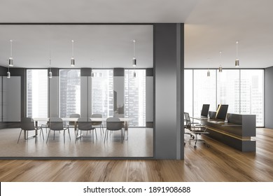 Office conference room with table and chairs, behind glass window. Minimalist meeting room and reception room with armchairs and computer, parquet floor 3D rendering no people