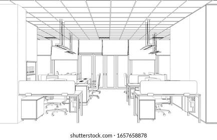office contour visualization, 3D illustration, sketch, outline