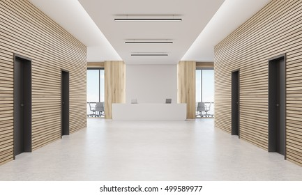 Office corridor with four doors and reception desk in the end of it with two conference rooms by its side. 3d rendering. Mock up.