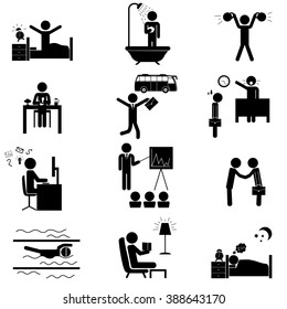 Office daily routine life. Raster icons set isolated on white