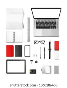 Office desk branding mockup top view isolated on white. Blank space