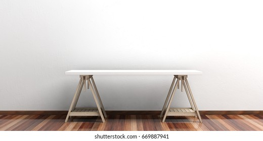 Office desk on a wooden floor - white wall. 3d illustration