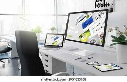 Büro-3D-Rendering mit Website-CMS-Builder auf dem Bildschirm