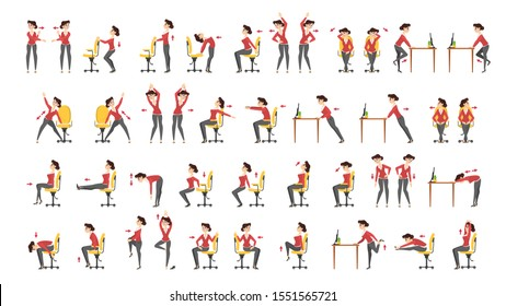 Office exercise set. Body workout for office worker. Neck, shoulder and back stretch. Isolated  cartoon illustration