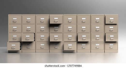 Office filing cabinets with open drawer in a gray wall and floor background. Document data archive storage and business administration concept. 3d illustration