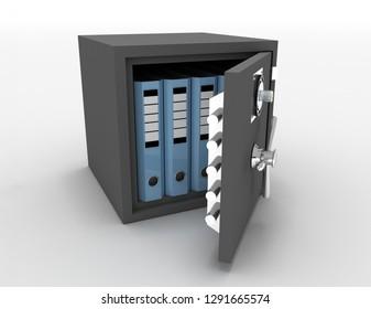 Office folders in an open metal safe . 3d rendered illustration