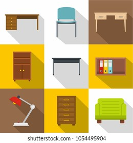 Office furniture icons set. Flat set of 9 office furniture icons for web with long shadow