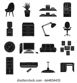 Office furniture and interior set icons in black style. Big collection of office furniture and interior bitmap,rastr symbol stock illustration
