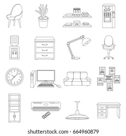 Office furniture and interior set icons in outline style. Big collection of office furniture and interior bitmap,rastr symbol stock illustration