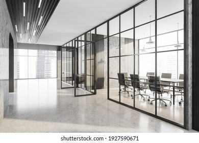 Office hall corridor and marble room with black armchairs and wooden table. Office minimalist interior behind glass doors, side view, 3D rendering no people