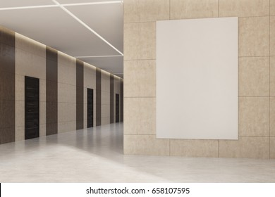 Office or hotel lobby interior with dark brown wooden doors and beige walls with a vertical poster hanging on one of them. 3d rendering, mock up