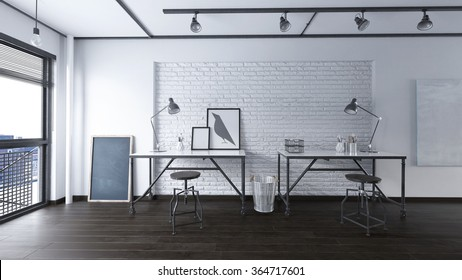 Office in an industrial interior - 3 d render using 3 d s Max