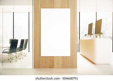 Office interior with blank poster on wooden wall and daylight. Mock up, 3D Rendering