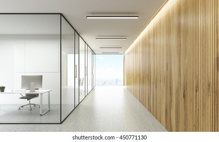 Office interior with blank whiteboard behind glass doors and hallway with wooden wall and New York city view. Mock up, 3D Rendering