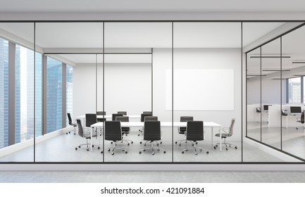 Office interior with blank whiteboard and Singapore city view. 3D Rendering