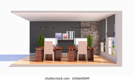 Office interior in a box. 3D illustration.
