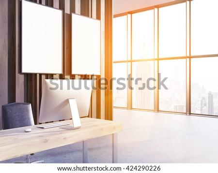 Office Interior Computer On Wooden Desk Stock Illustration 424290226 ...
