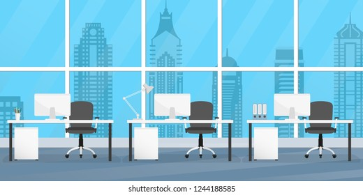 Office interior with furniture. Office desks, chairs and computers. Modern business workplace or workspace design.