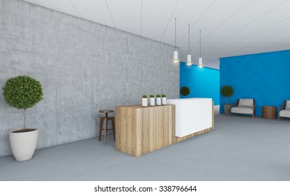 Office Interior Lobby with blue wall 3D Rendering