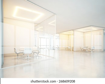 Office interior with meeting rooms and panoramic windows. 3D rendering