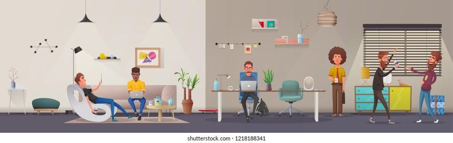 Office interior. Modern apartment, scandinavian or loft design. Cartoon  illustration. Creative office and Co-working center. Comfortable workplace. Creative work