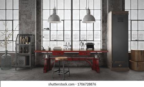 Office interior  Rusty red metal working desk in industrial styled interior - 3 d rendering
