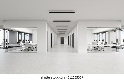 Office interior with two rows of conference rooms and long corridor in the middle. Concept of luxury office. 3d rendering. Mock up.