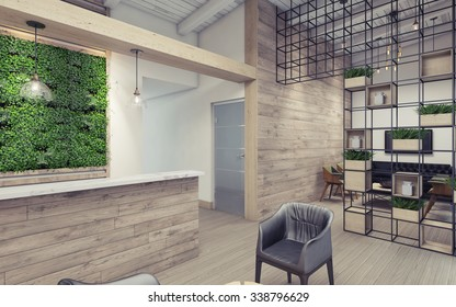 Office Lobby with Green Wall 3D Rendering