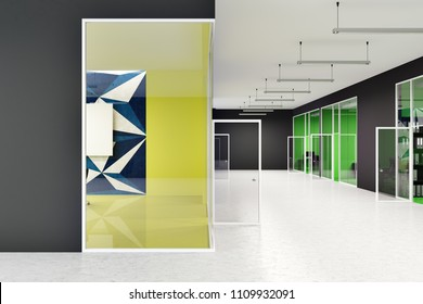 Office lobby interior with black and bright colored walls and geometric wall patterns. Concept of a modern company. 3d rendering mock up