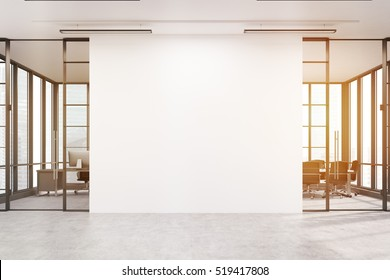 Office lobby. Large white wall is in the middle with two conference rooms by both sides. 3d rendering. Mock up. Toned image