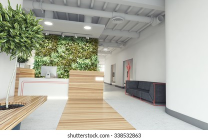 office lobby with plant-wall 3d Rendering