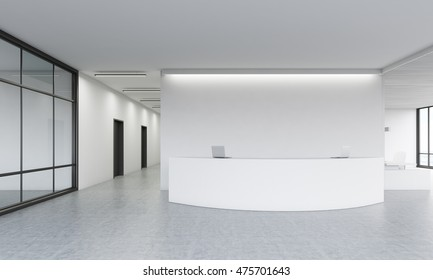 Office lobby with reception desk, meeting room and large window. Concept of office life. 3d rendering. Mock up