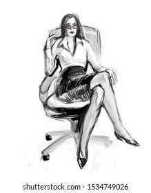Office manager female 2d sketch. Business woman boss corporative style ink  black and white illustration.