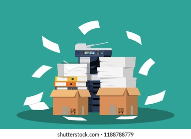Office multifunction machine. Pile of paper documents, boxes and folders. Bureaucracy, paperwork, office. Printer copy scanner device. illustration in flat style Raster version